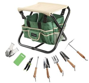 finnhomy 10 piece all-in-one garden tool set garden folding stool seat