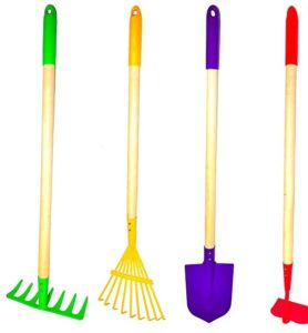 g & f products justforkids kids garden tool set toytake, spade, hoe and leaf rake
