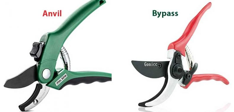 difference between anvil and bypass secateurs