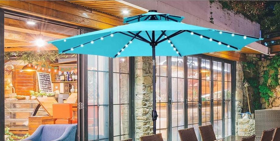 Best Outdoor Umbrella With Solar Lights, Patio Umbrellas With Solar Lights